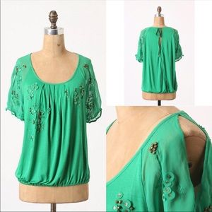 Anthro Leifnotes Saxifrage Thicket Beaded Top
